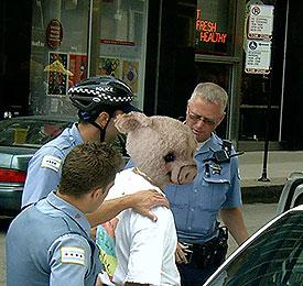 Piglet was finally arrested after an 8 hr standoff with police.