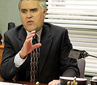 Leno would replace Carell as goofy paper boss Michael Scott.
