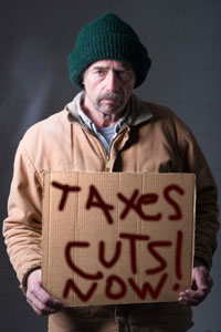 "Today a poll said the poorest Americans ""demand more tax cuts."""