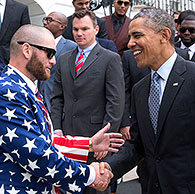 President Obama here swaps Walter White stories with Boston Red Sox outfielder Jonny Gomes.